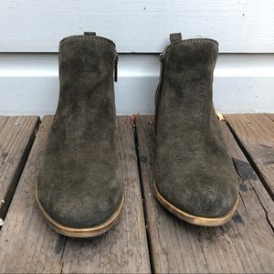 Lucky Brand Basel Bootie Green Suede Leather